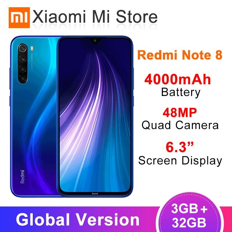 Global Version Xiaomi Redmi Note 8 3GB RAM 32GB ROM 48MP Rear Quad Camera Mobile Phone Snapdragon 665 Octa Core 6.3