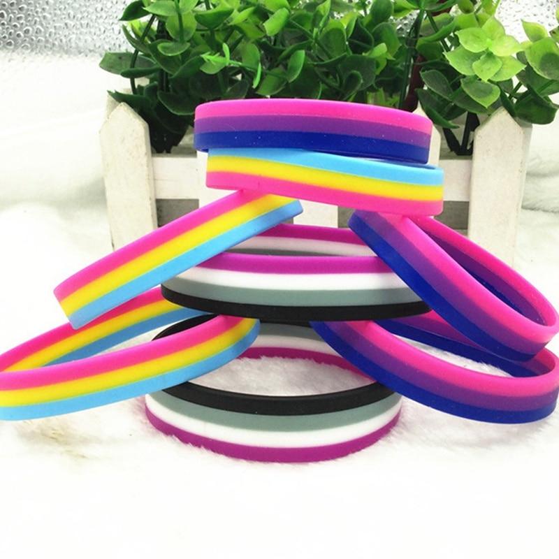 Гей Гордость бисексуальные силиконовые резиновые браслеты спортивный браслет на запястье