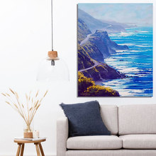 Diy paint drawn by digital pictures oil painting sea seascape art creative decorative paintings decompression painting(China)