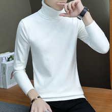 Men's Winter High Neck Sweater Solid Color Casual Bottoming Pullovers Men Slim Fitting Turtleneck Pullover Sweater