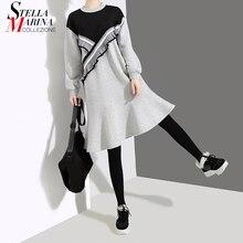 2019 韓国スタイルの女性秋冬グレーカジュアルトランペットドレス長袖フリル女性かわいいトミディフレアワンピースサイズドレスホリデーローブ 4547