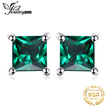 Square 0.6ct Green Nano Russian Emerald Earrings Stud Solid 925 Sterling Silver Women Classic Fashion Jewelry new arrival sterling silver 925 emerald earrings silver square openwork green zircon stud earrings for women palace jewelry gift