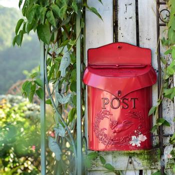 Skrzynka pocztowa w stylu europejskim żelazna skrzynka do głosowania skrzynka na gazety ślubne dekoracje ogrodowe skrzynka pocztowa dla domu tanie i dobre opinie Metal Apartament Do montażu na ścianie Vintage Mailbox
