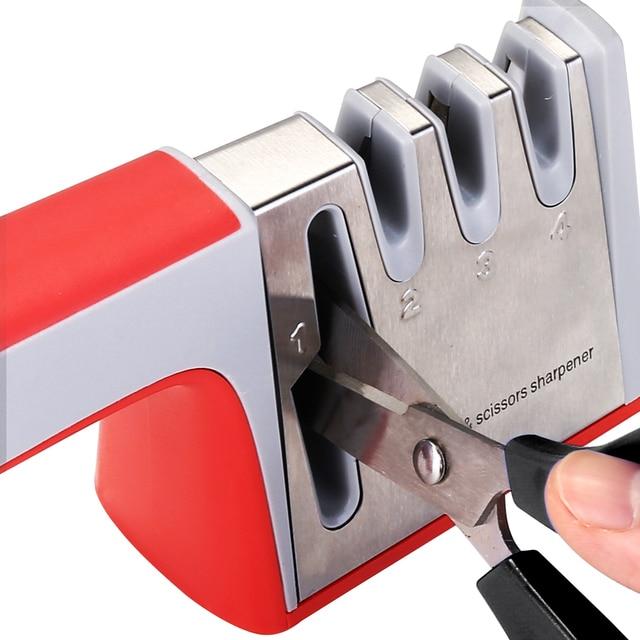 DEKO 4 In 1 Stainless Steel Scissors Tools Diamond Sharpening Whetstone Stone Non-Slip Knife Sharpener 4