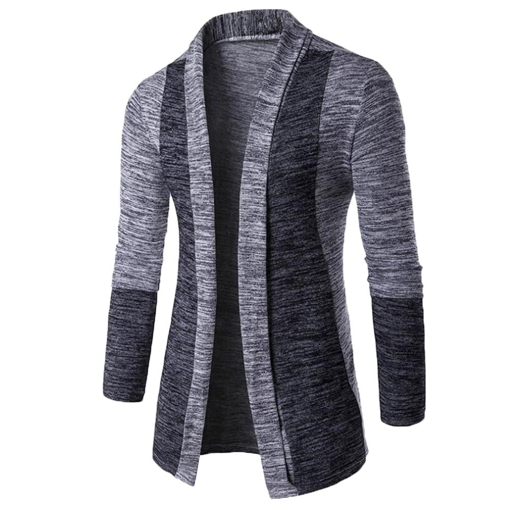 New retro men's sweater men's cardigan stitching contrast color long-sleeved slim-fit sweater jacket outer wear versatile fit 3