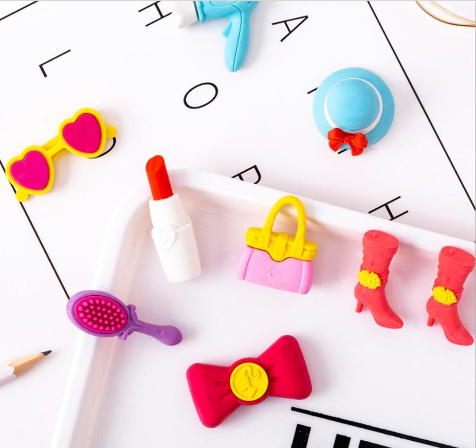 1pack Girls Princess Makeup Pencil Erasers Stationary School Supplies Pen Rubber Eraser For Kids Prizes Gift Noveltytoys