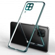 Capa transparente revestida, para huawei p40 lite p40 pro p 40 luz p40lite p40pro câmera silicone coque