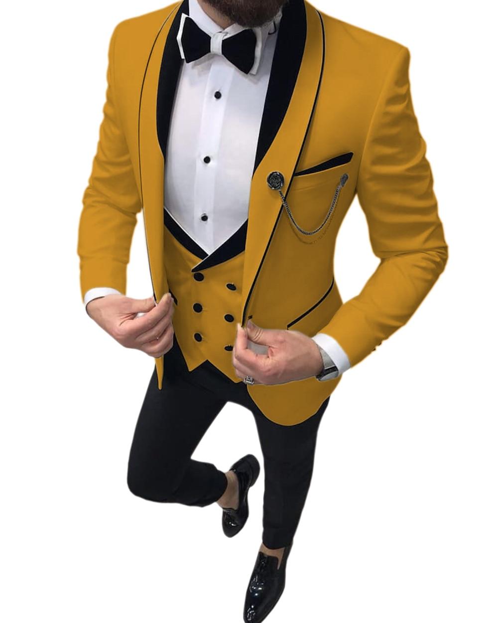 Men's Suits Slim Fit 3 Piece Prom Tuxedos Shawl Lapel Double Breasted Vest Tuxedos Blazer Wedding Party (Blazer+vest+Pants)