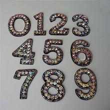 Радужные стразы 0-9 цифр арабские цифры пришивают железные нашивки вышивка значок для одежды украшения DIY Аппликации Ремесло