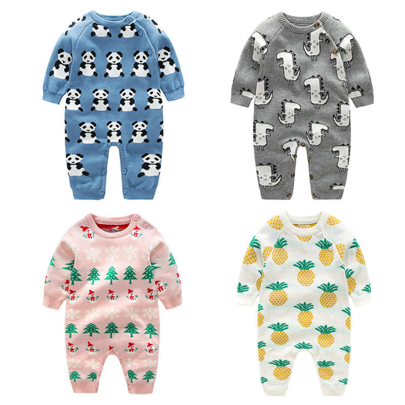 2020 New Animal Pattern Wool Cotton Knitted Romper Jumpsuit Baby Outerwear Climbing Clothes