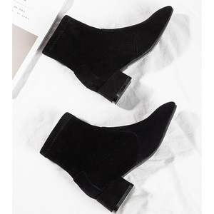 Image 3 - Botas Mujer Invierno 2019 מגפי נשים חורף פרווה Ankel מגפי נשים גבוהה עקבים נעלי מוצק כחול שחור גבירותיי נקבה נעליים