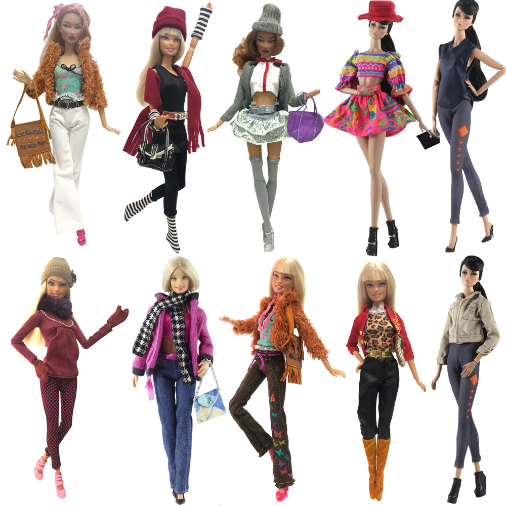 NK 2020 Mix New Doll Dress Fashion Super Model Coat Modern Outfit Daily Wear For Barbie Doll Accessories Gift Baby DIY Toys JJ
