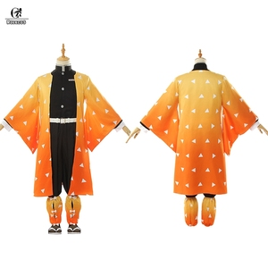 Image 2 - ROLECOS Аниме Костюм Kimetsu no Yaiba Косплей демона Slayer Agatsuma Zenitsu косплей костюм Мужчины кимоно Хэллоуин костюм