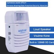 Bateria alimentado sem fio detector de movimento infravermelho mp3 player áudio alarme de segurança em casa suporte sd cartão memória extensão