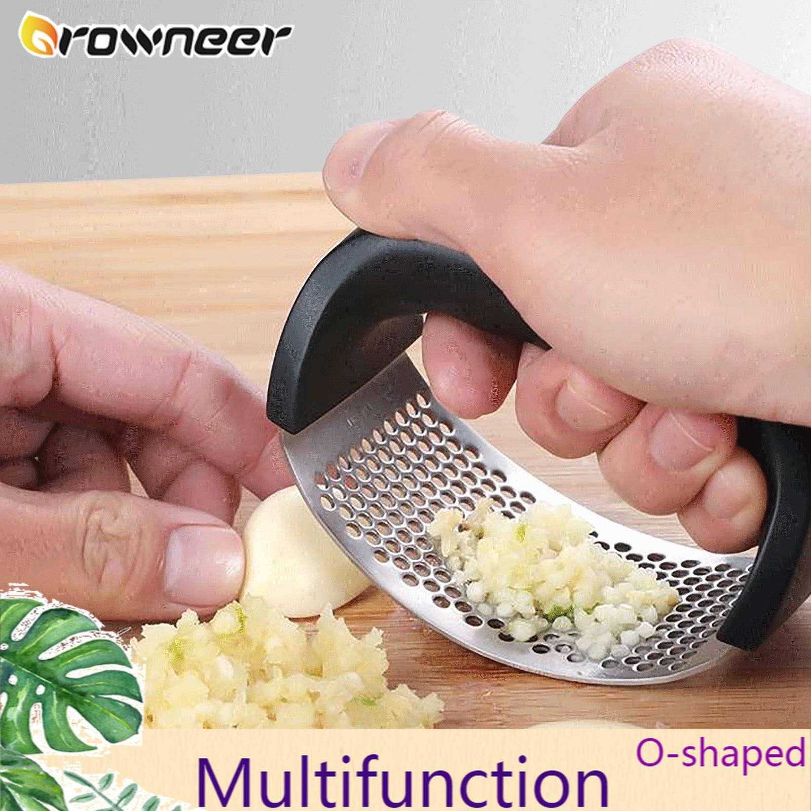 Многофункциональный Нож для измельчения из нержавеющей стали o-образный чесночный имбирный пресс ручная кухонная прокатная дробилка инстр...