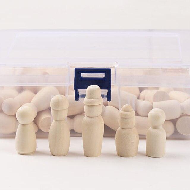 60 pièces bricolage en bois marionnettes artisanat parures main peinture ornements décoratifs en bois poupées pour enfants étudiants artisanat jouets