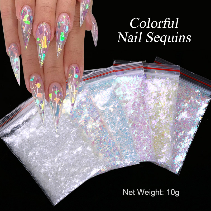 1 Bag Nail Art Colorful Flakes Holographics Irregluar Nail Sequins Decoration Design Sticker Symphony Bags With Sequins