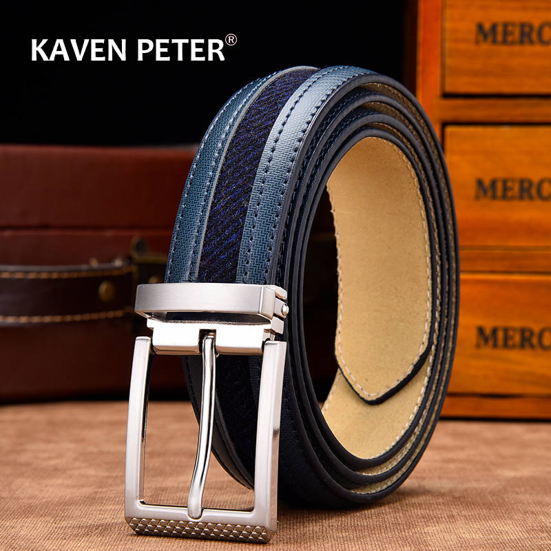 Leather Belt Mixed Canvas Male Strap High Quality Genuine Leather Luxury Pin Buckle Belts For Men Leisure New Fashion