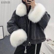 LUZUZI теплый бомбер женская зимняя куртка пальто женский джинсовый жакет базовый женский топ ветровка джинсовые куртки пальто размера плюс