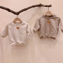 2020 new baby striped Sweatshirts autumn cotton loose long sleeve top boys and girls Korea clothes