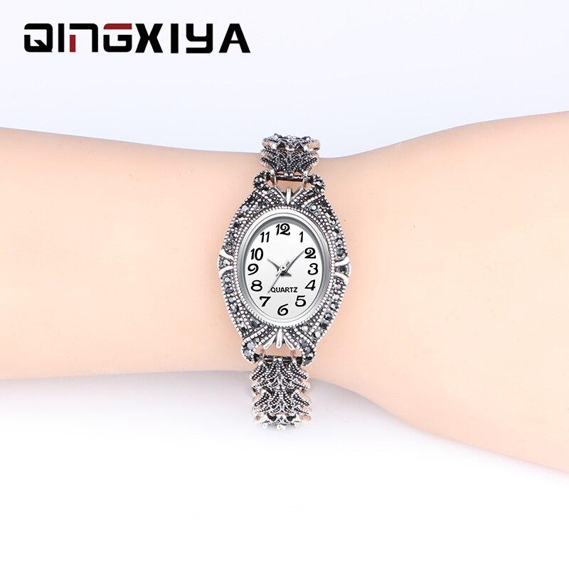QINGXIYA бренд класса люкс женское платье часы модный дизайн антикварный серебряный браслет часы женские наручные часы кварцевые часы для женщ...