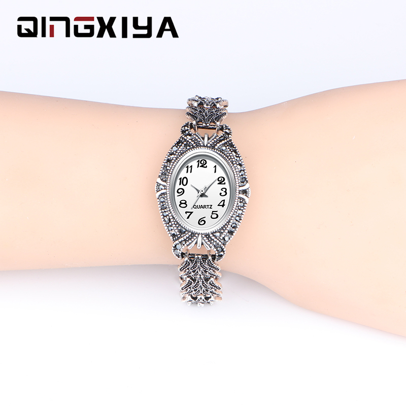 QINGXIYA Brand Luxury Women Dress Watches Fashion Design Antique Silver Bracelet Clock Ladies Wrist Watch Quartz Watches Womens