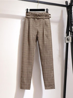 2019 new fashion women's Korean pants temperament high waist plaid casual harem pants women