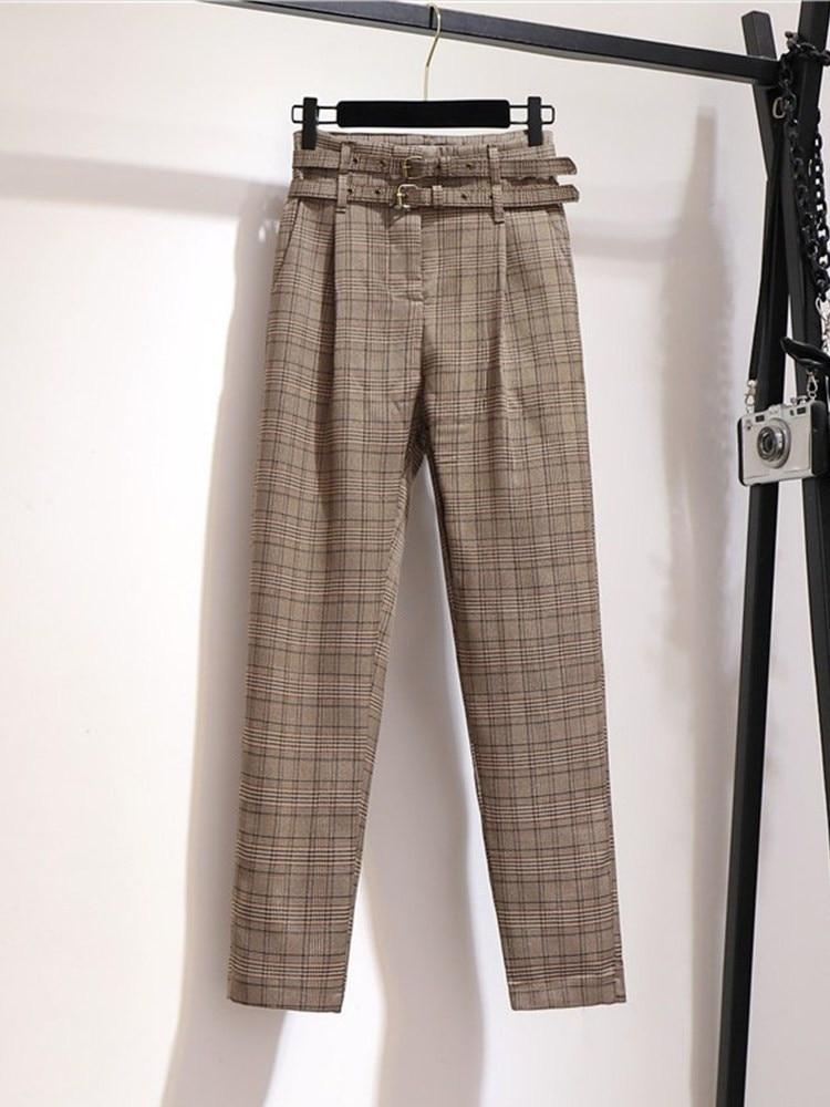 2019 new fashion women's Korean pants temperament high waist plaid casual harem pants women