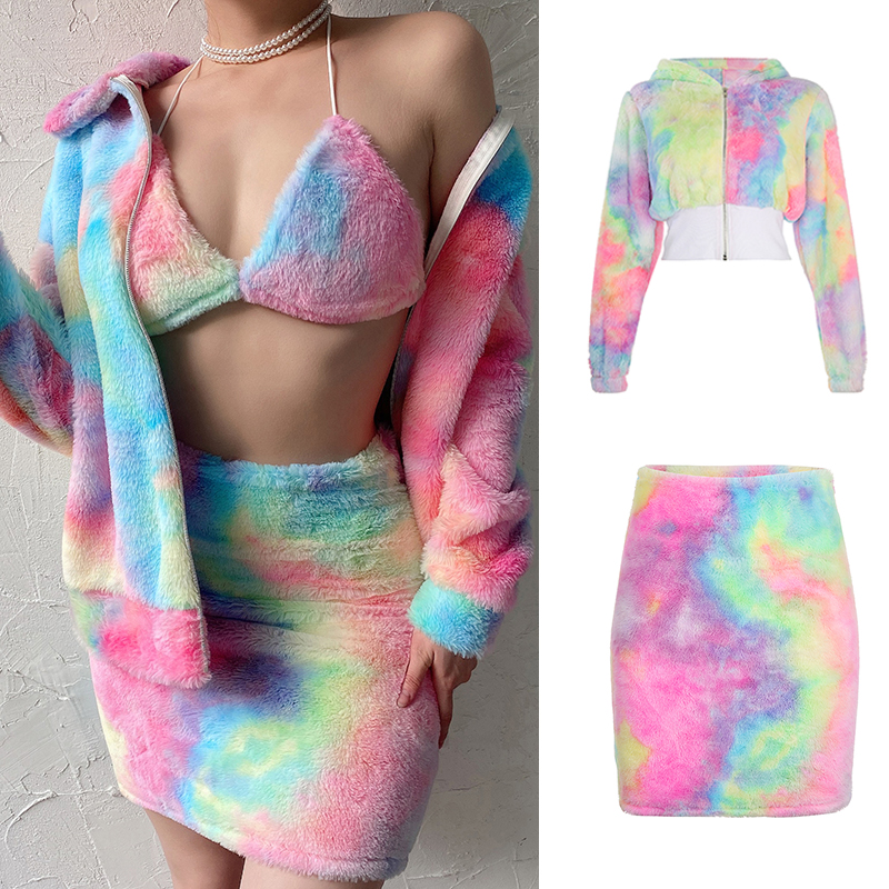 SUCHCUTE Rainbow 2 Pieces Sets Wool Fur Coats And Skirt Wrap Hip Streetwear Korean Style Die Tye Colorful Gothic Female Clothes