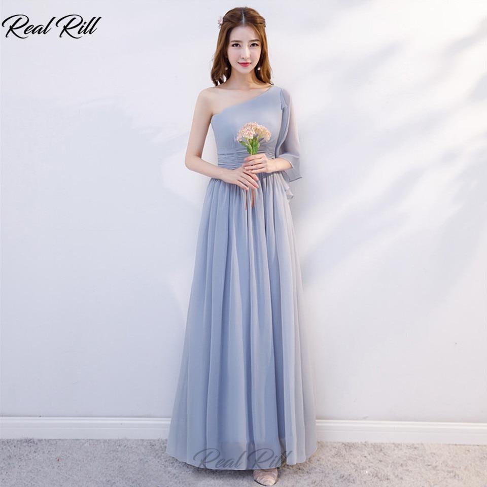 Real Rill One-Shoulder   Bridesmaid     Dresses   Lace Up Back Floor Length Long A-Line Chiffon Wedding Party   Dress   Vestidos De Festa