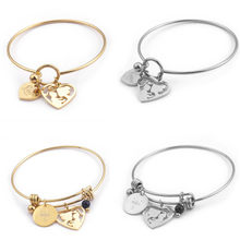 58mm Stainless Steel Gold Love Heart Charm Bracelet & Bangle for Women Hollow Mom & Child Bangles Mother's Day Birthday Gifts(China)