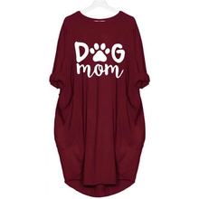 2019 DOG MOM Letters Print Women Dress Long Sleeve Casual Pocket Plus Size Female Fall Thin Loose Dresses Party