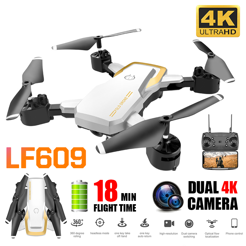 LF609 Drone 4K with HD Camera Real Time WIFI FPV mini Foldable Helicopter Altitude Hold Quadcopter Aerial Video Selfie Drone image