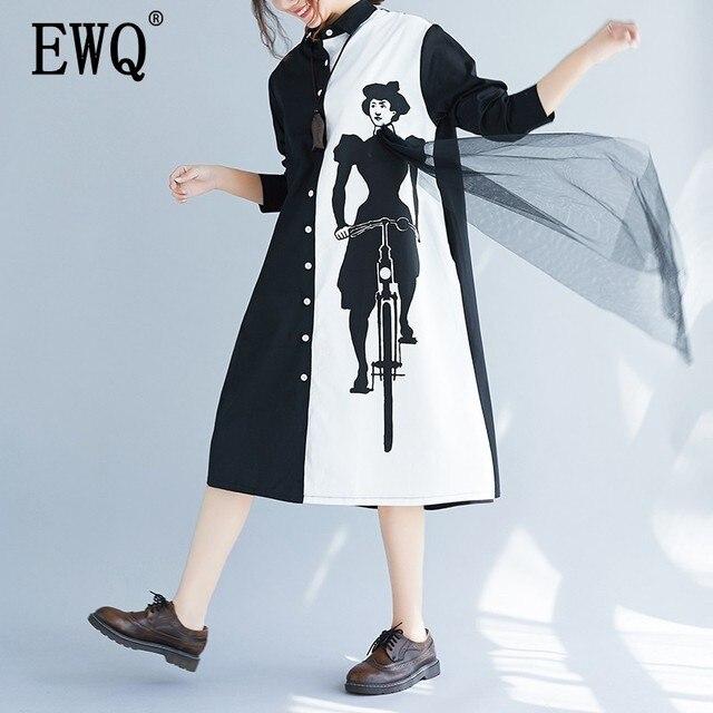 [EWQ] 2020 אביב סתיו חדש Loose ארוך שרוול הדפסת שחור לבן טלאים דש יחיד חזה Loose חולצה שמלה נשים AA250