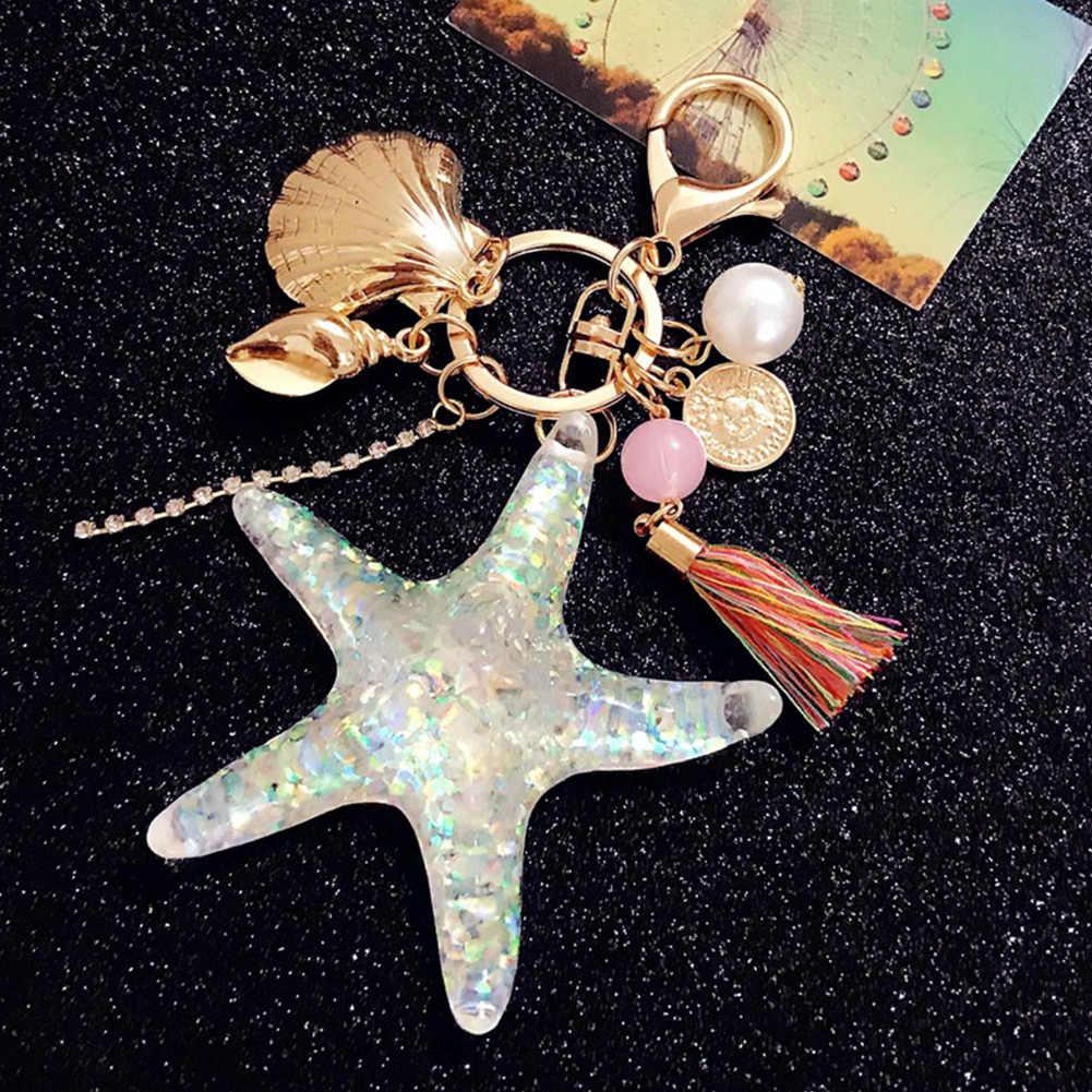 HOT Sea World Pearl Shell Key Chain การ์ตูน Key แหวนคริสตัลพู่พวงกุญแจพวงกุญแจผู้หญิงของขวัญเครื่องประดับอินเทรนด์