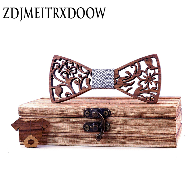 Next Boy's Carved Flowers Wooden Bow Tie 1