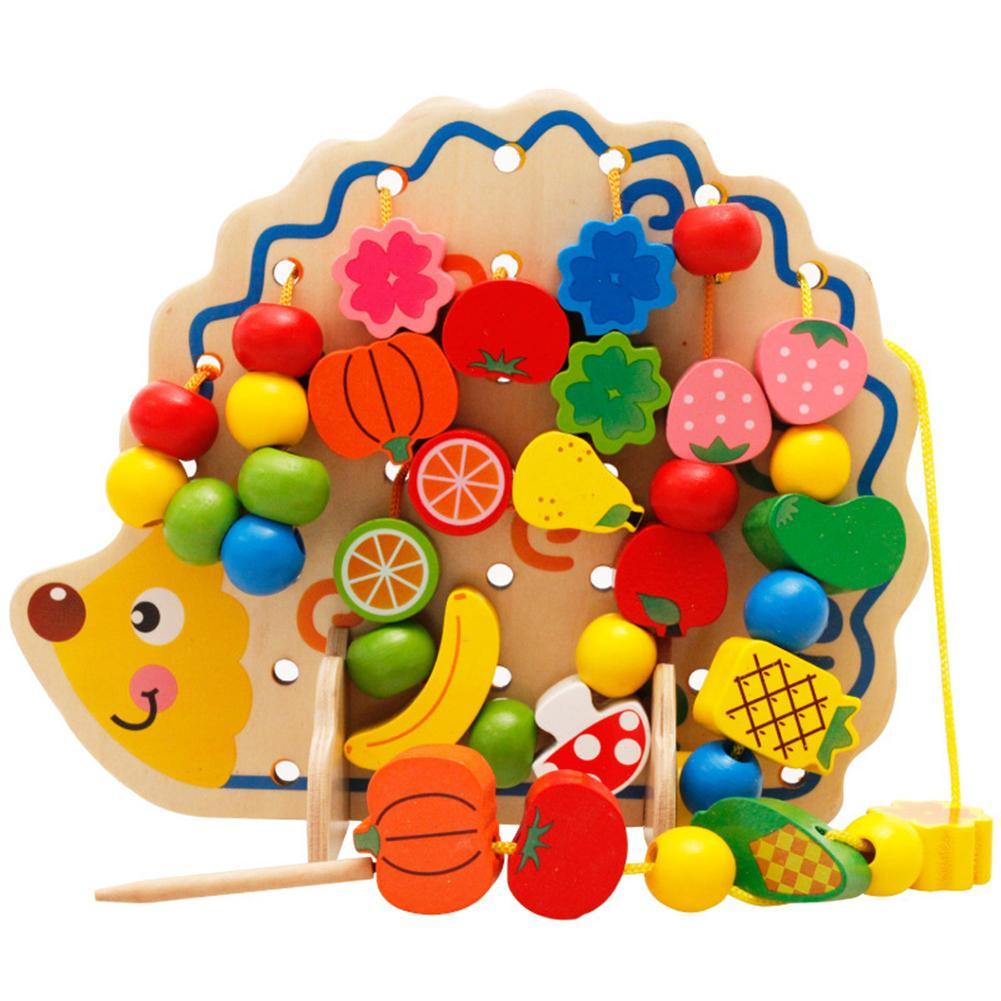 Kids Stringing Beads Toy Lacing Game Wooden Hedgehog Fruits Vegetables Lacing Stringing Beads Kids Intelligent Educational Toy