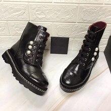 Черные ботинки из натуральной кожи; Женские ботинки в байкерском стиле; женские модные ботильоны в стиле панк