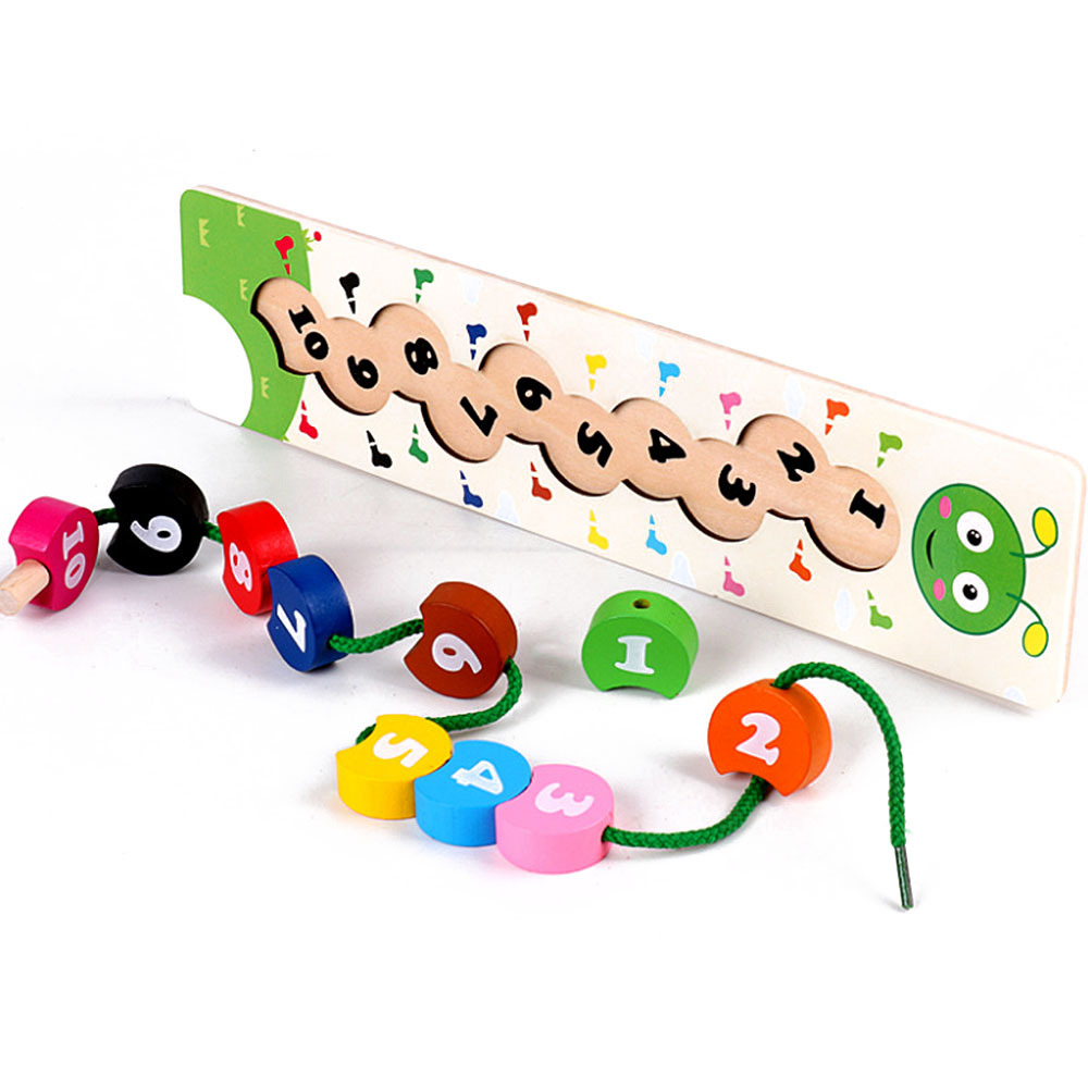 New Baby  Caterpillar Digital Beading Toys Wooden Colorful Number Stringing Threading Montessori Educational For Children