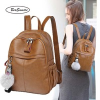 BeaSumore New Women Shoulder Backpack PU Leather Travel Bag Fashion Hand School Bag