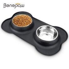 Benepaw滑り止めダブル犬ボウルシリコーンマット耐久性のあるステンレス鋼なし流出ペット給餌ボウル飲料水食品フィーダー