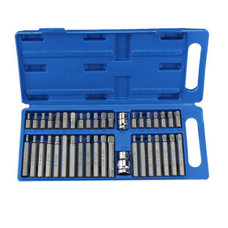 Screwdriver Set Car Repair Toolbox Torx Star Spline Hex Allen Key Socket Bit Set 3/8 & 1/2 Drive Long Deep Car Accessories