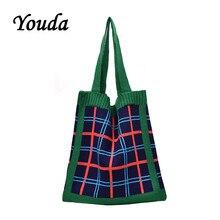 Сумка через плечо Youda 2019, зимняя модная оригинальная стильная сумка для девушек, вместительные хозяйственные сумки, вязаный дизайн, женская ...