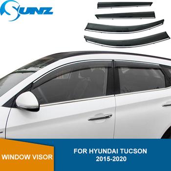 Deflektor boczna szyba dla Hyundai Tucson 2015 2016 2017 2018 2019 2020 osłona przeciwsłoneczna osłona przeciwdeszczowa osłony przeciwsłoneczne SUNZ tanie i dobre opinie CN (pochodzenie) Window Window Air Vent Visor Awnings shelters CHINA Manual 4pcs set For HYUNDAI TUCSON 2015-2020
