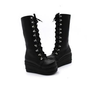 Image 2 - Enmayer botas de motociclista, sapatos góticos punk, botas cosplay, salto alto plataforma, sexy, com zíper, para inverno