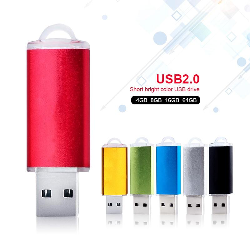 Metal USB 4 GB Disk On Key Mini USB Flash Drive 32 GB Cool Pendrive 8 GB Pen Drive 16 GB USB Stick Color Silver