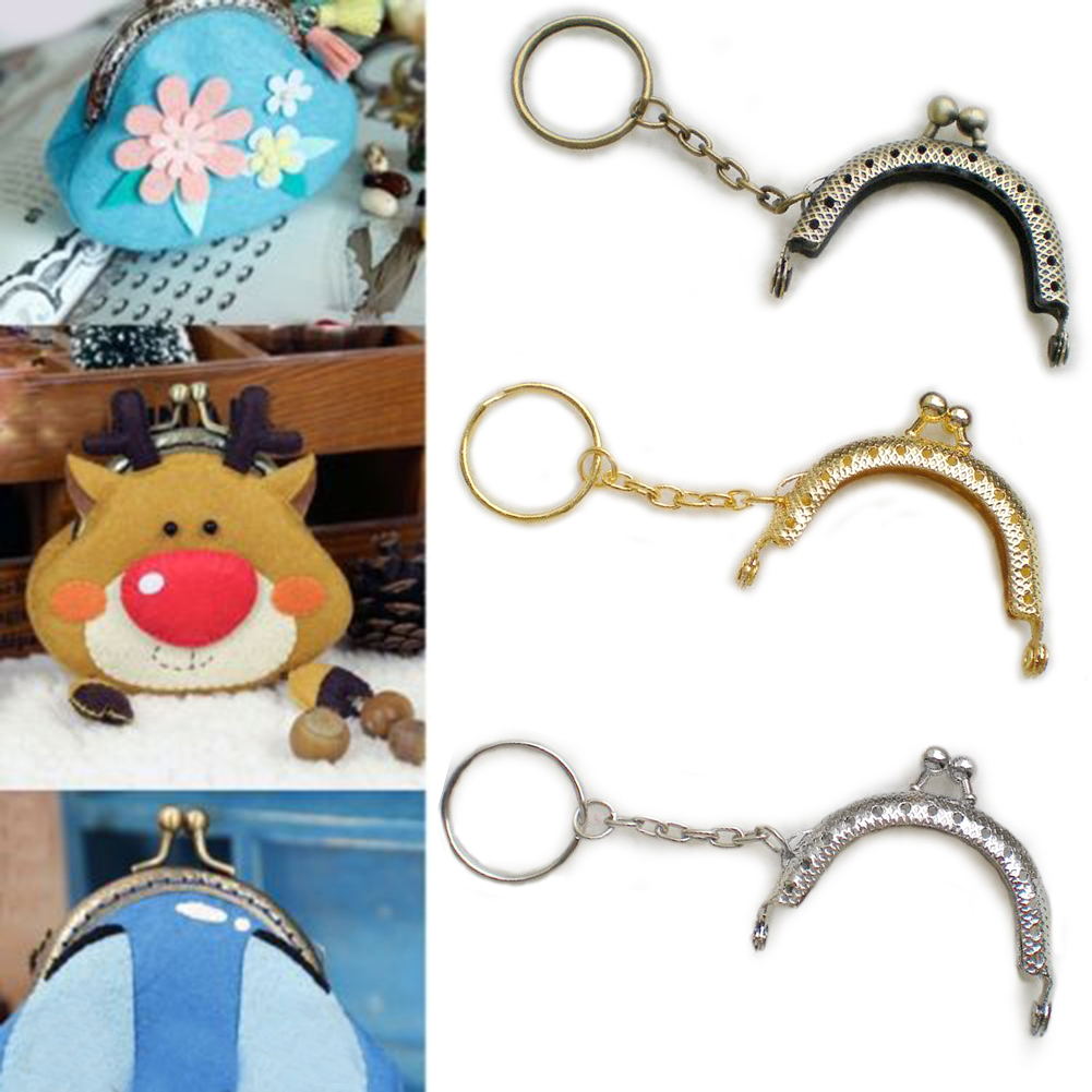 1pc 5cm Coin Purse Metal Frame Bag Change Purse Frame With Keychain Arch Frame Kiss Clasp Lock DIY Craft Wallet Accessaries
