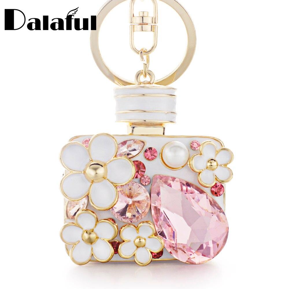 Dalaful Enamel Flower Rhinestone Bottle Keyrings Crystal Bag Pendant For Car Key Chains Holder Rings Women Jewelry K314 bag pendant pendant for car keyspendant for bag - AliExpress