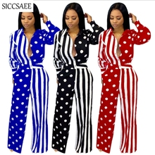 Polka Dot Patchwork Striped Printed Rompers Womens Jumpsuit Wide Leg Palazzo Pants Overalls Sexy Casual Mono Mujer Loose Autumn palazzo leg striped cami jumpsuit