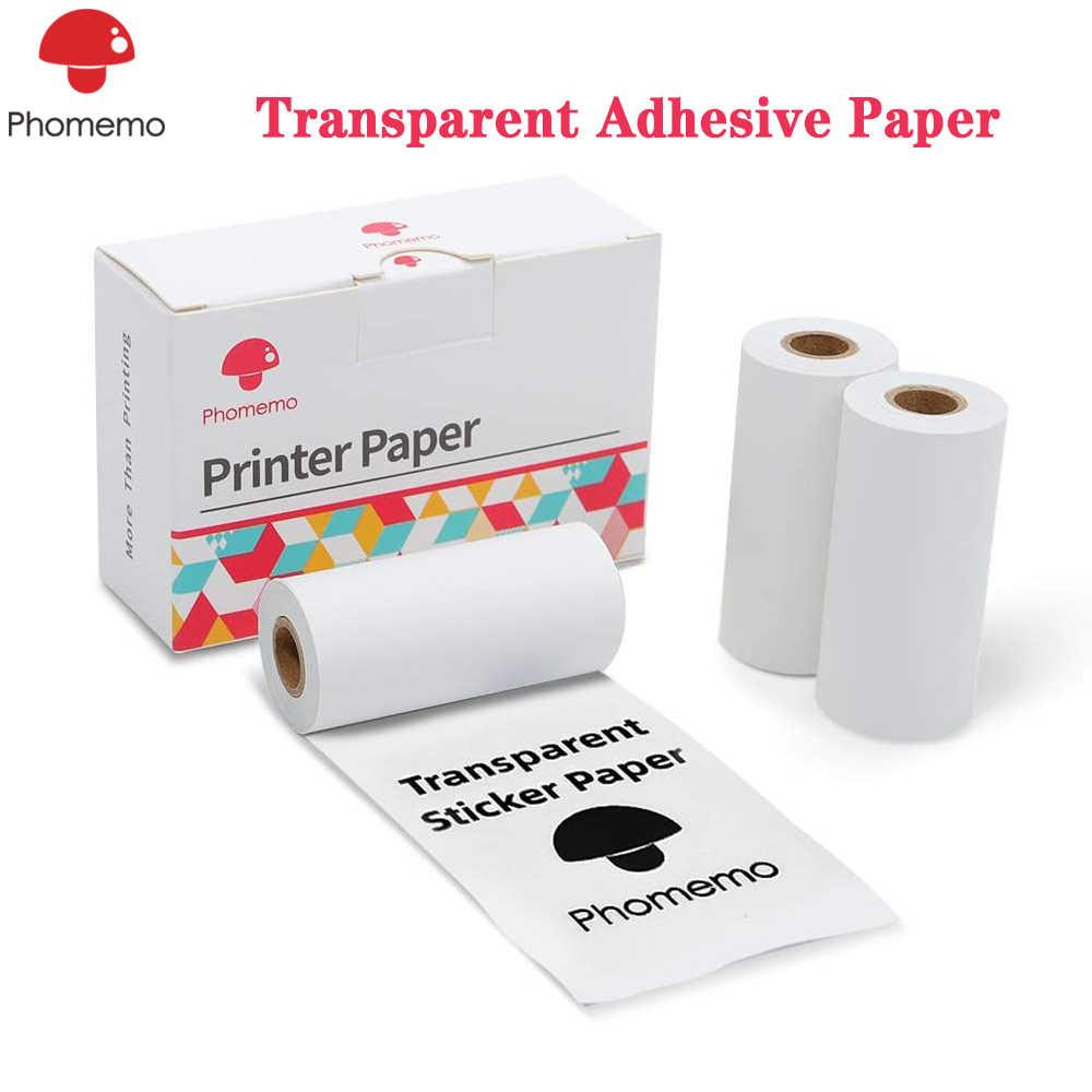 Papel térmico transparente adhesivo Phomemo M02/M02S/M02Pro, Mini impresora fotográfica térmica, papel autoadhesivo Phomemo